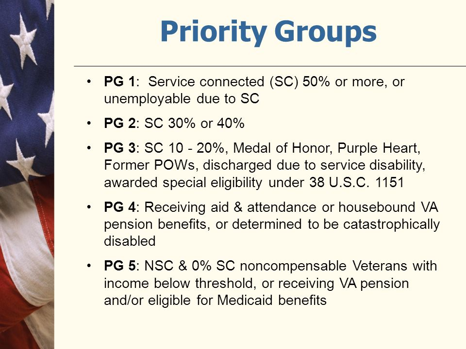 Priority Groups PG 1: Service connected (SC) 50% or more, or unemployable due to SC PG 2: SC 30% or 40% PG 3: SC 10 - 20%, Medal of Honor, Purple Hear