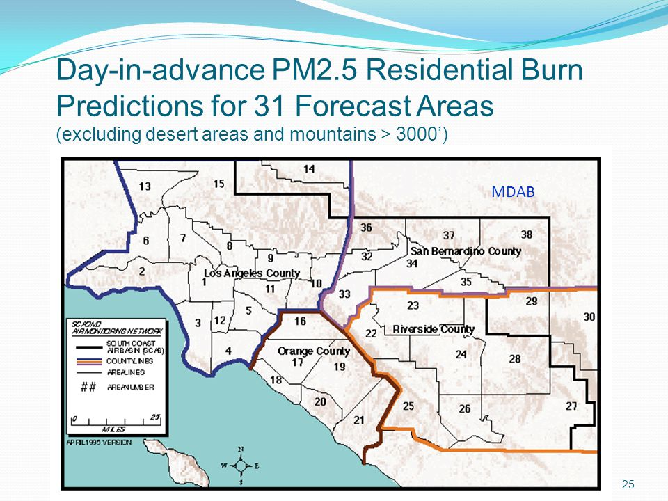 25 Day-in-advance PM2.5 Residential Burn Predictions for 31 Forecast Areas (excluding desert areas and mountains > 3000') MDAB