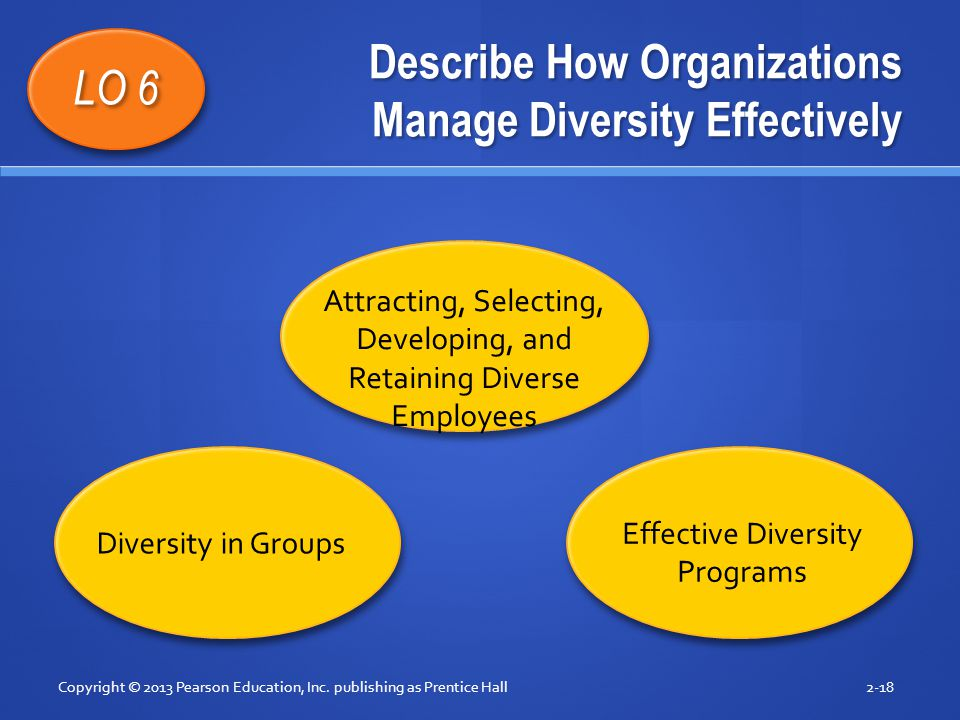Describe How Organizations Manage Diversity Effectively Copyright © 2013 Pearson Education, Inc. publishing as Prentice Hall2-18 LO 6 Attracting, Sele