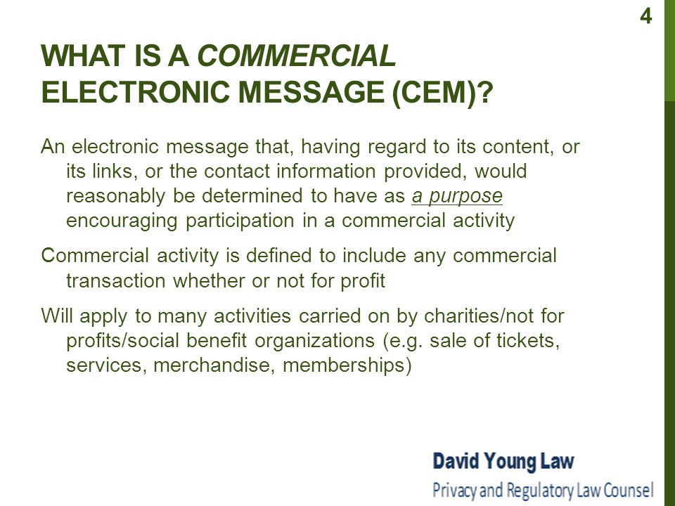 WHAT IS A COMMERCIAL ELECTRONIC MESSAGE (CEM).