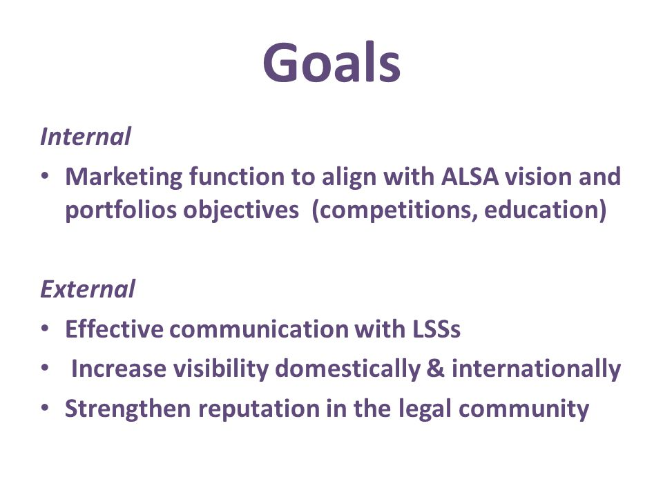 Internal Marketing function to align with ALSA vision and portfolios objectives (competitions, education) External Effective communication with LSSs I