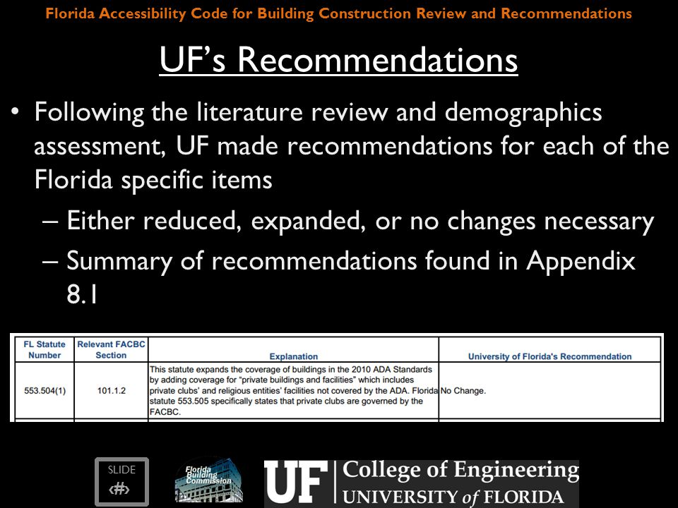 SLIDE ‹#› Florida Accessibility Code for Building Construction Review and Recommendations UF's Recommendations Following the literature review and demographics assessment, UF made recommendations for each of the Florida specific items – Either reduced, expanded, or no changes necessary – Summary of recommendations found in Appendix 8.1