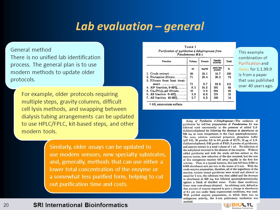 SRI International Bioinformatics 20 Lab evaluation – general General method There is no unified lab identification process.