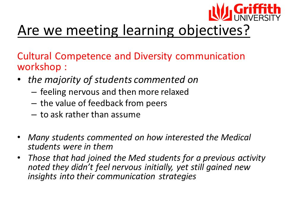 Are we meeting learning objectives.
