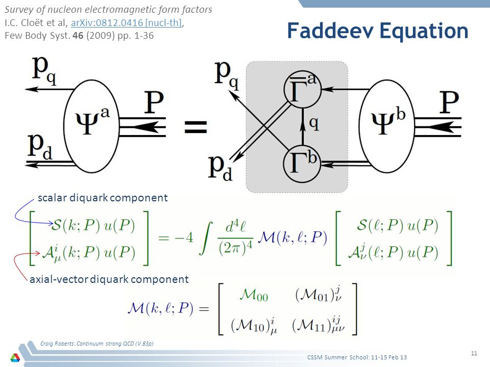 Faddeev Equation Craig Roberts: Continuum strong QCD (V.83p) 11 CSSM Summer School: 11-15 Feb 13 scalar diquark component axial-vector diquark compone