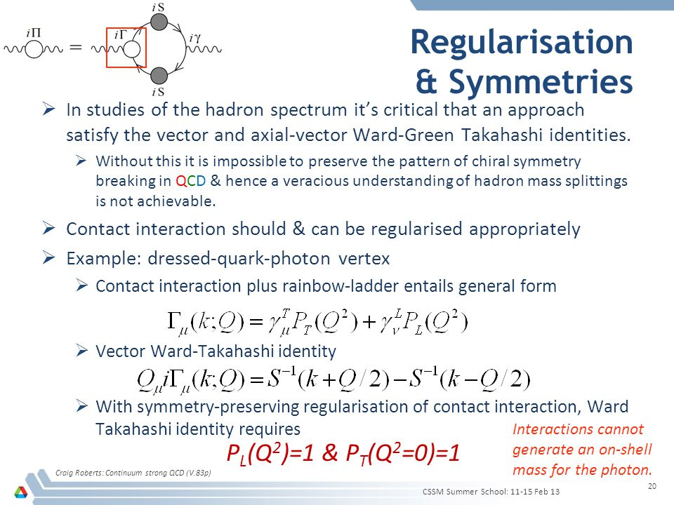 Regularisation & Symmetries  In studies of the hadron spectrum it's critical that an approach satisfy the vector and axial-vector Ward-Green Takahash