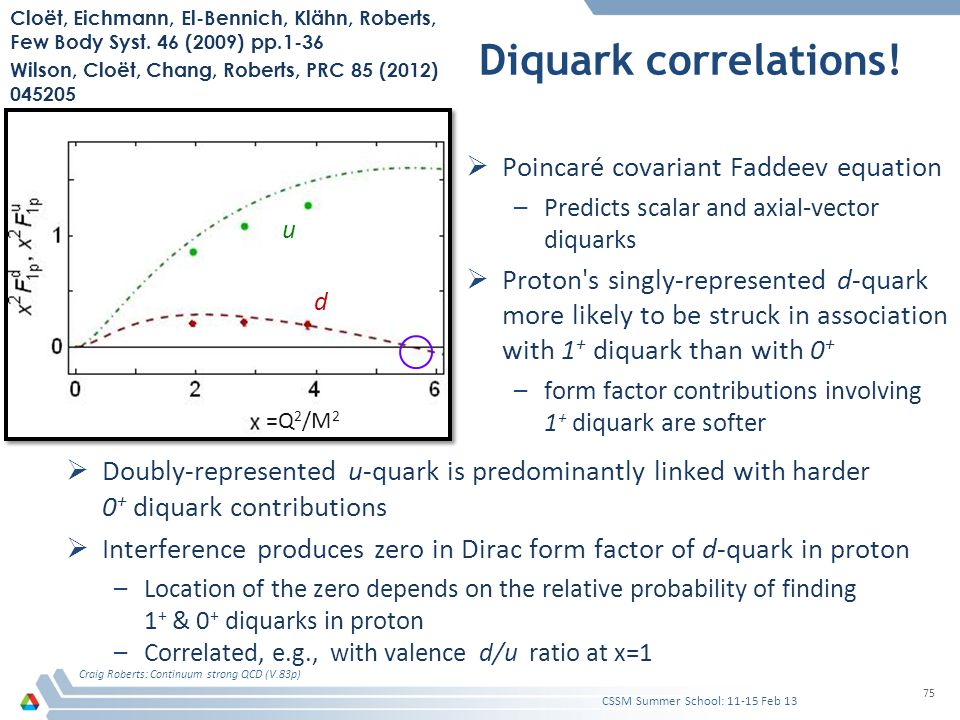 Diquark correlations!  Poincaré covariant Faddeev equation –Predicts scalar and axial-vector diquarks  Proton's singly-represented d-quark more like