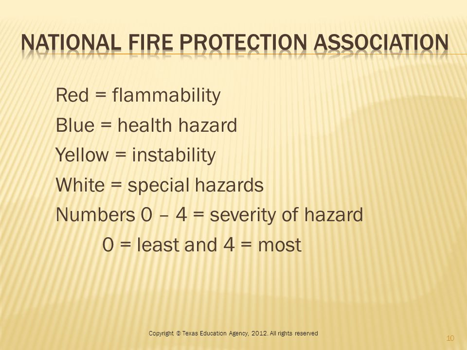 Red = flammability Blue = health hazard Yellow = instability White = special hazards Numbers 0 – 4 = severity of hazard 0 = least and 4 = most 10 Copyright © Texas Education Agency, 2012.