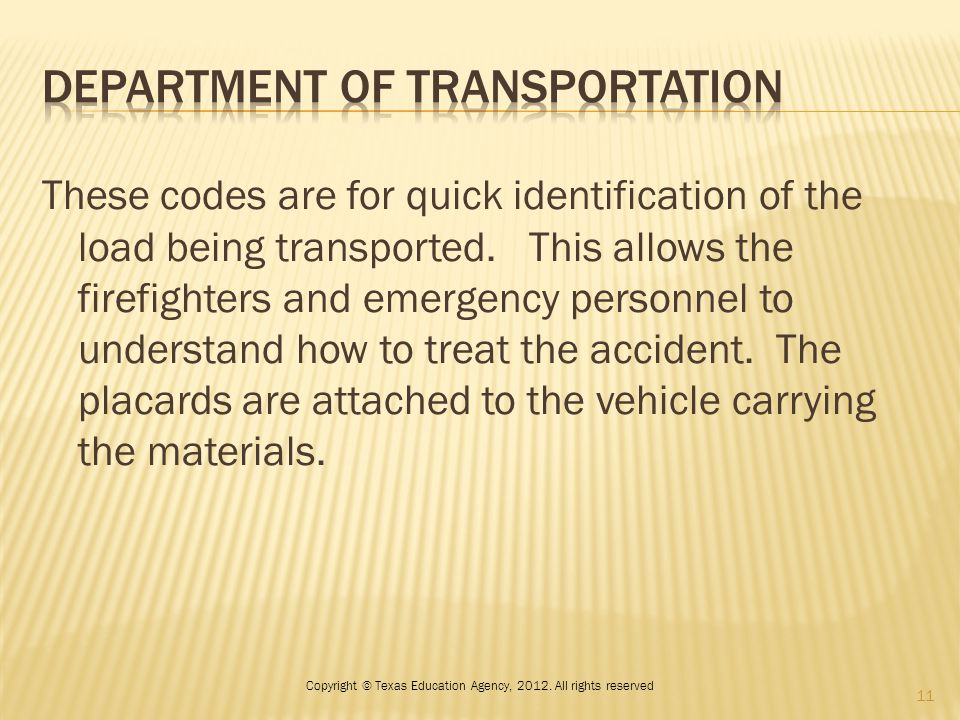 These codes are for quick identification of the load being transported.