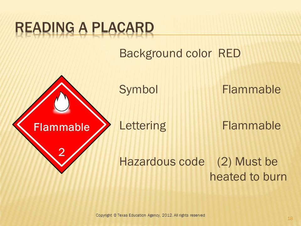 Background color RED Symbol Flammable Lettering Flammable Hazardous code (2) Must be heated to burn Flammable 2 18 Copyright © Texas Education Agency,