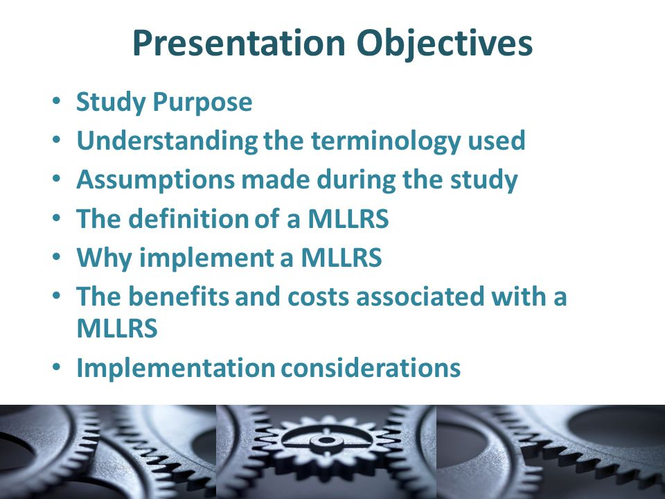 Study Purpose The report was conducted to identify the costs and benefits of implementing and maintaining a statewide Multi-Level Linear Referencing System (MLLRS)