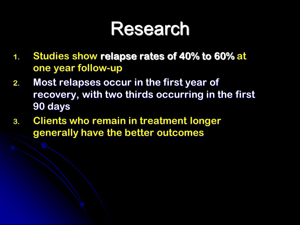 Research 1. Studies show relapse rates of 40% to 60% at one year follow-up 2.
