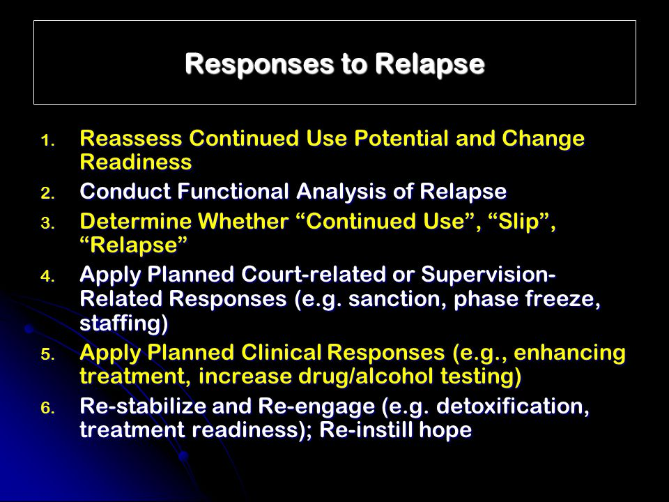 """Responses to Relapse 1. Reassess Continued Use Potential and Change Readiness 2. Conduct Functional Analysis of Relapse 3. Determine Whether """"Continue"""