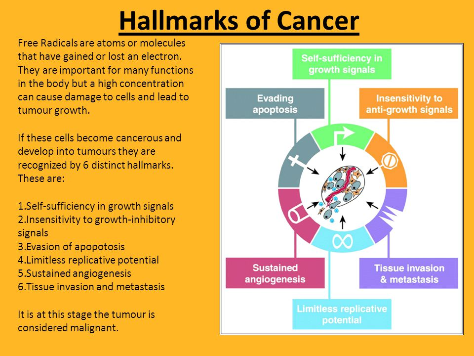 Hallmarks of Cancer Free Radicals are atoms or molecules that have gained or lost an electron.