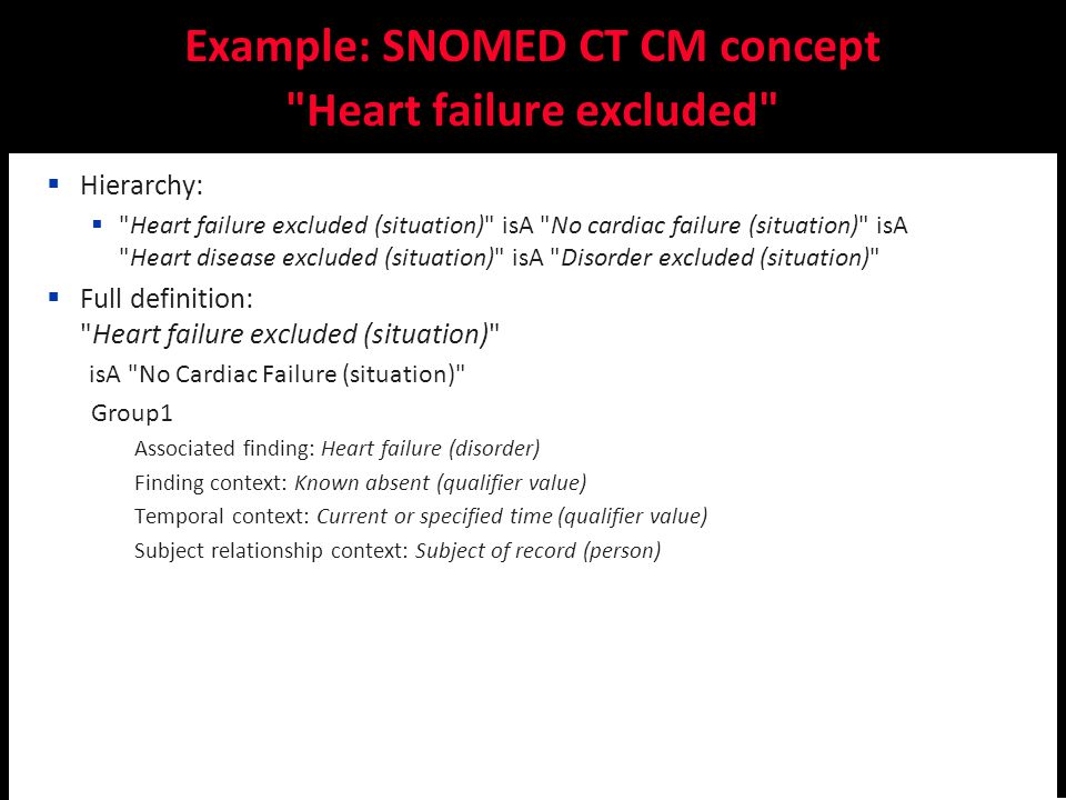 Catalina Martínez-Costa, Stefan Schulz: Ontology-based reinterpretation of the SNOMED CT context model  Hierarchy:  Heart failure excluded (situation) isA No cardiac failure (situation) isA Heart disease excluded (situation) isA Disorder excluded (situation)  Full definition: Heart failure excluded (situation) isA No Cardiac Failure (situation) Group1 Associated finding: Heart failure (disorder) Finding context: Known absent (qualifier value) Temporal context: Current or specified time (qualifier value) Subject relationship context: Subject of record (person)  OWL EL++: (according to transformation script) Heart failure excluded (situation) subclassOf RoleGroup some (( associated finding some Heart failure ) and ( finding context some Known absent ) and ( temporal context some Current of specified ) and ( subject relationship context some Subject of record )) Example: SNOMED CT CM concept Heart failure excluded