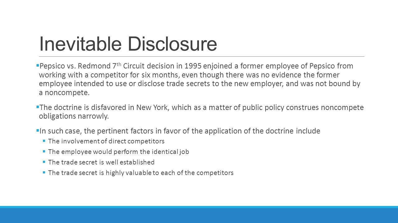 Inevitable Disclosure  Pepsico vs.