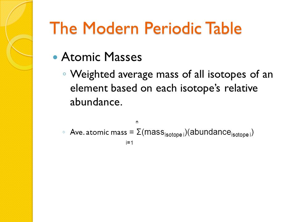 The Modern Periodic Table Atomic Masses ◦ Weighted average mass of all isotopes of an element based on each isotope's relative abundance.