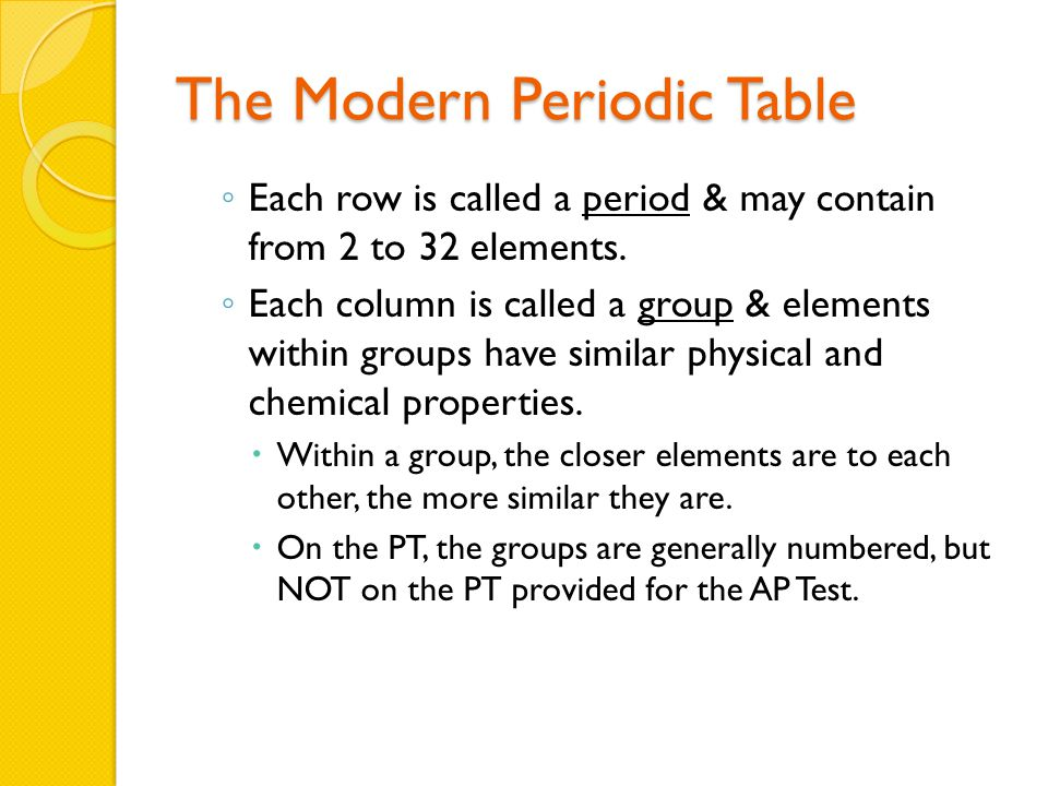 The Modern Periodic Table ◦ Each row is called a period & may contain from 2 to 32 elements.