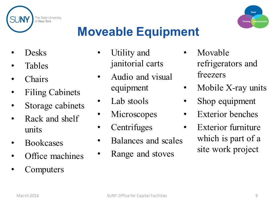 Non Equipment Items Items with a limited useful life Consumables March 2014SUNY Office for Capital Facilities10