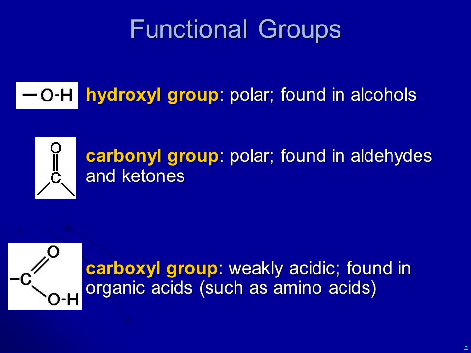 . hydroxyl group: polar; found in alcohols hydroxyl group: polar; found in alcohols carbonyl group: polar; found in aldehydes and ketones carbonyl gro