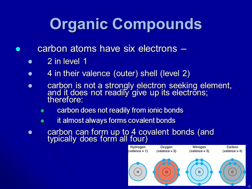 . Organic Compounds carbon atoms have six electrons – carbon atoms have six electrons – 2 in level 1 2 in level 1 4 in their valence (outer) shell (le