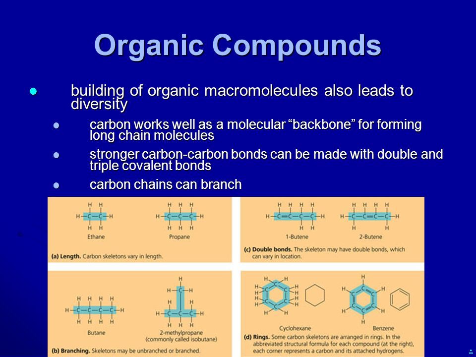 . Functional Groups functional groups determine most of the reactive properties (functions) of organic molecules functional groups determine most of the reactive properties (functions) of organic molecules functional groups are groups of atoms covalently bonded to a carbon backbone that give properties different from a C-H bond functional groups are groups of atoms covalently bonded to a carbon backbone that give properties different from a C-H bond the properties of the major classes of organic compounds (carbohydrates, lipids, proteins, and nucleic acids) are determined mostly by their functional groups the properties of the major classes of organic compounds (carbohydrates, lipids, proteins, and nucleic acids) are determined mostly by their functional groups learn the seven functional groups on the following slides learn the seven functional groups on the following slides