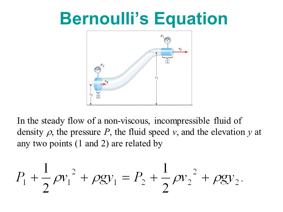 Bernoulli's Equation In the steady flow of a non-viscous, incompressible fluid of density , the pressure P, the fluid speed v, and the elevation y at any two points (1 and 2) are related by