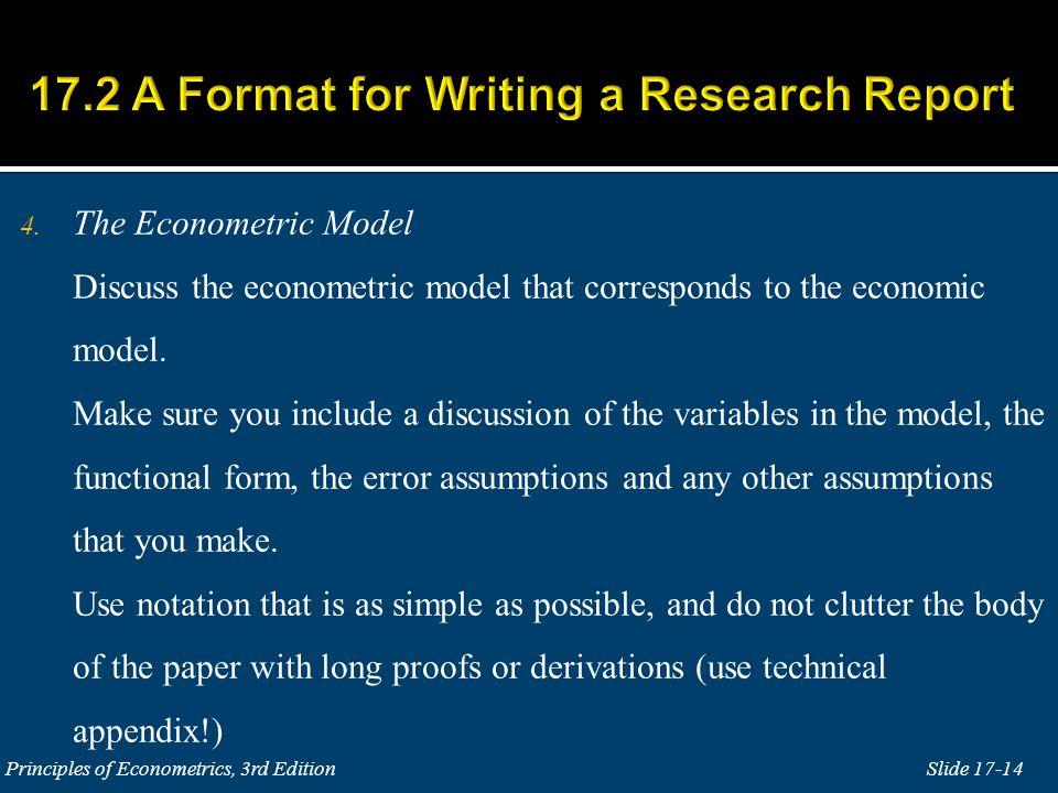 4. The Econometric Model Discuss the econometric model that corresponds to the economic model.