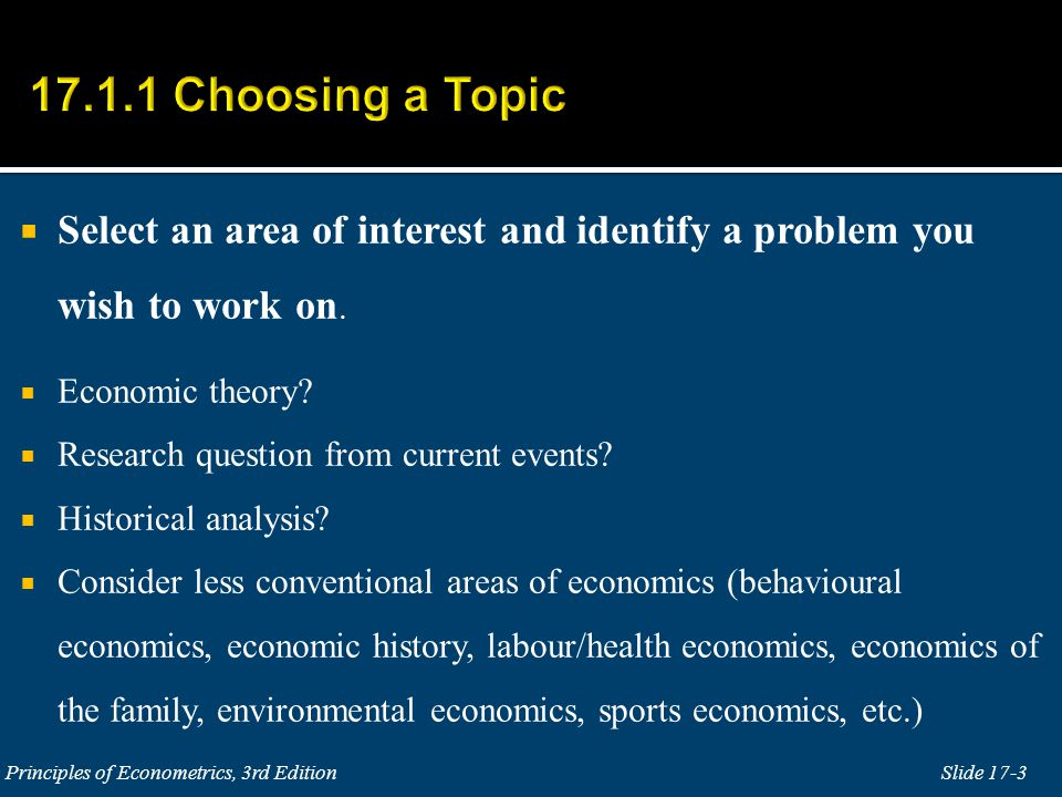  Select an area of interest and identify a problem you wish to work on.
