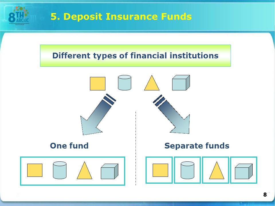 Different types of financial institutions One fundSeparate funds 5. Deposit Insurance Funds 8