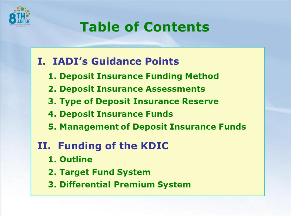 Table of Contents I. IADI's Guidance Points 1. Deposit Insurance Funding Method 2.