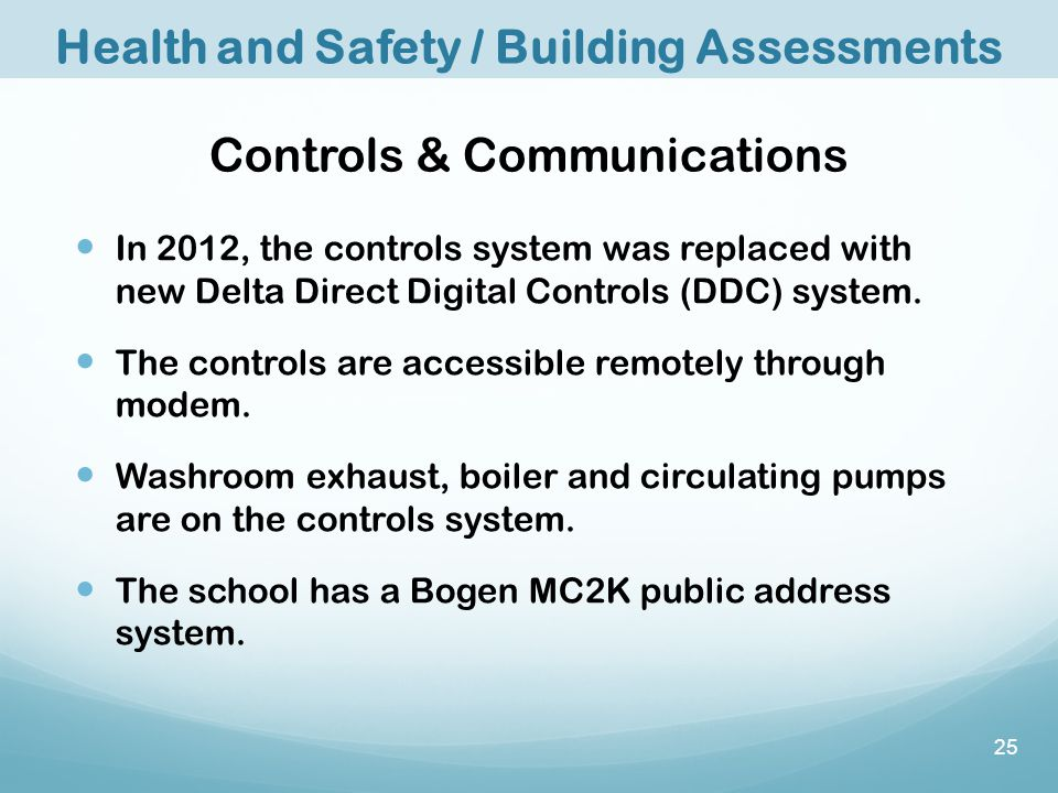 Controls & Communications In 2012, the controls system was replaced with new Delta Direct Digital Controls (DDC) system.