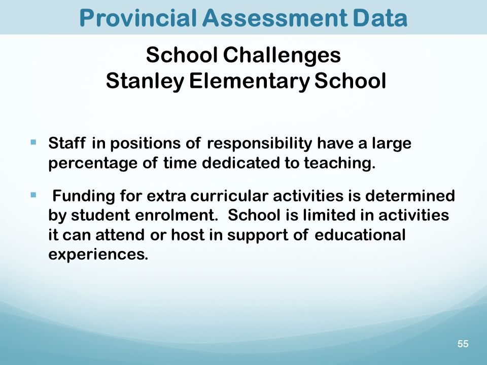 55 Provincial Assessment Data School Challenges Stanley Elementary School  Staff in positions of responsibility have a large percentage of time dedicated to teaching.