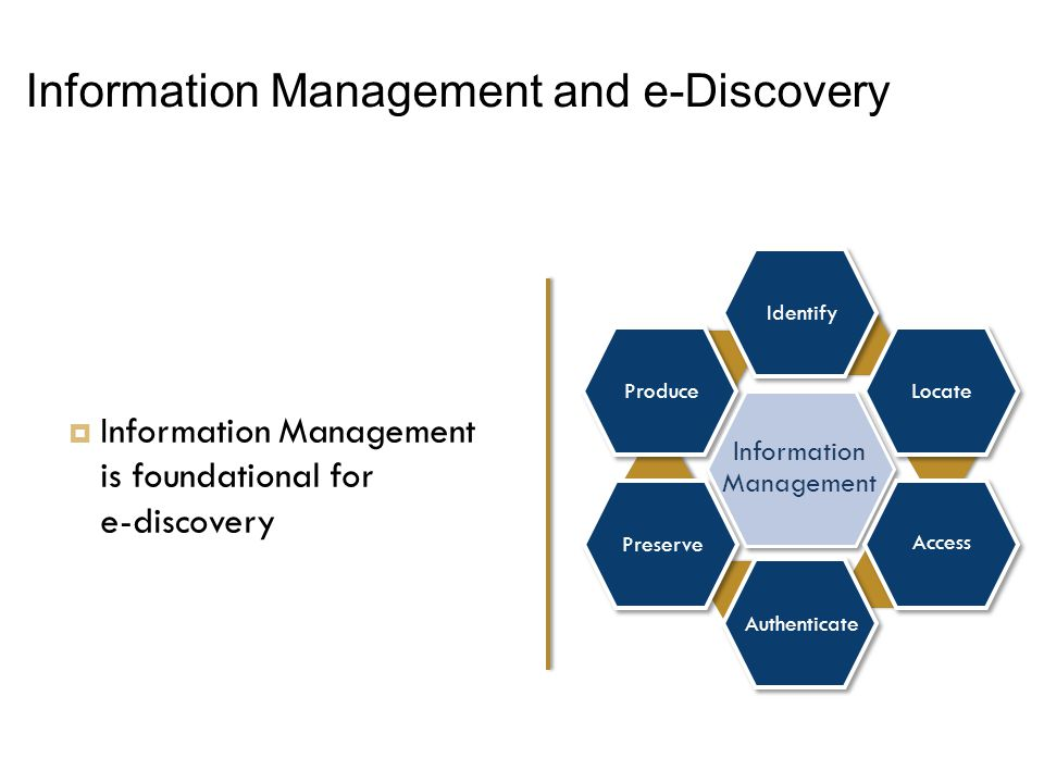 Information Management and e-Discovery Produce Preserve Locate Identify Information Management Access Authenticate  Information Management is foundational for e ‑ discovery