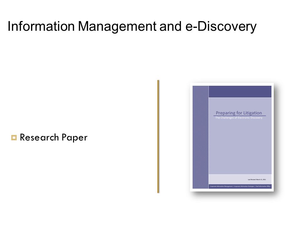 Information Management and e-Discovery  Research Paper