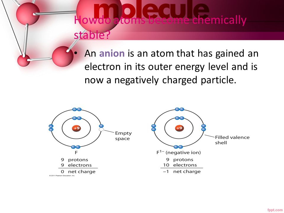 Howdo atoms become chemically stable? An anion is an atom that has gained an electron in its outer energy level and is now a negatively charged partic