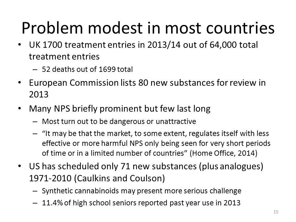 Problem modest in most countries UK 1700 treatment entries in 2013/14 out of 64,000 total treatment entries – 52 deaths out of 1699 total European Commission lists 80 new substances for review in 2013 Many NPS briefly prominent but few last long – Most turn out to be dangerous or unattractive – It may be that the market, to some extent, regulates itself with less effective or more harmful NPS only being seen for very short periods of time or in a limited number of countries (Home Office, 2014) US has scheduled only 71 new substances (plus analogues) 1971-2010 (Caulkins and Coulson) – Synthetic cannabinoids may present more serious challenge – 11.4% of high school seniors reported past year use in 2013 15