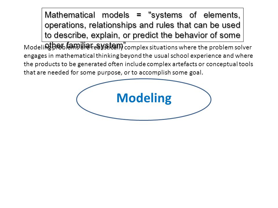 Modeling Mathematical models = systems of elements, operations, relationships and rules that can be used to describe, explain, or predict the behavior of some other familiar system Modeling problems are realistically complex situations where the problem solver engages in mathematical thinking beyond the usual school experience and where the products to be generated often include complex artefacts or conceptual tools that are needed for some purpose, or to accomplish some goal.