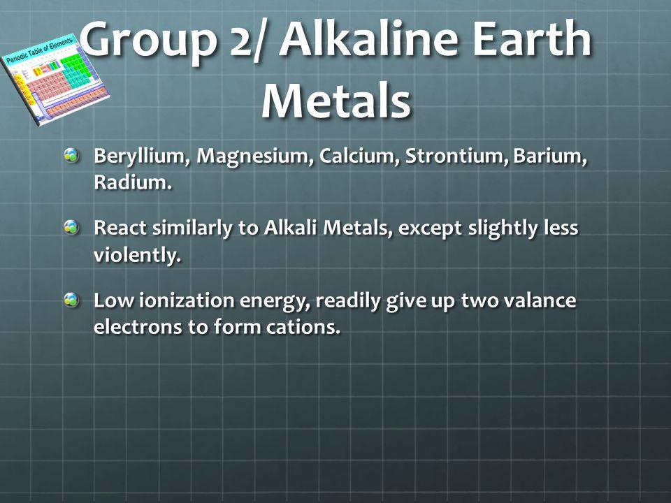 Group 2/ Alkaline Earth Metals Beryllium, Magnesium, Calcium, Strontium, Barium, Radium.