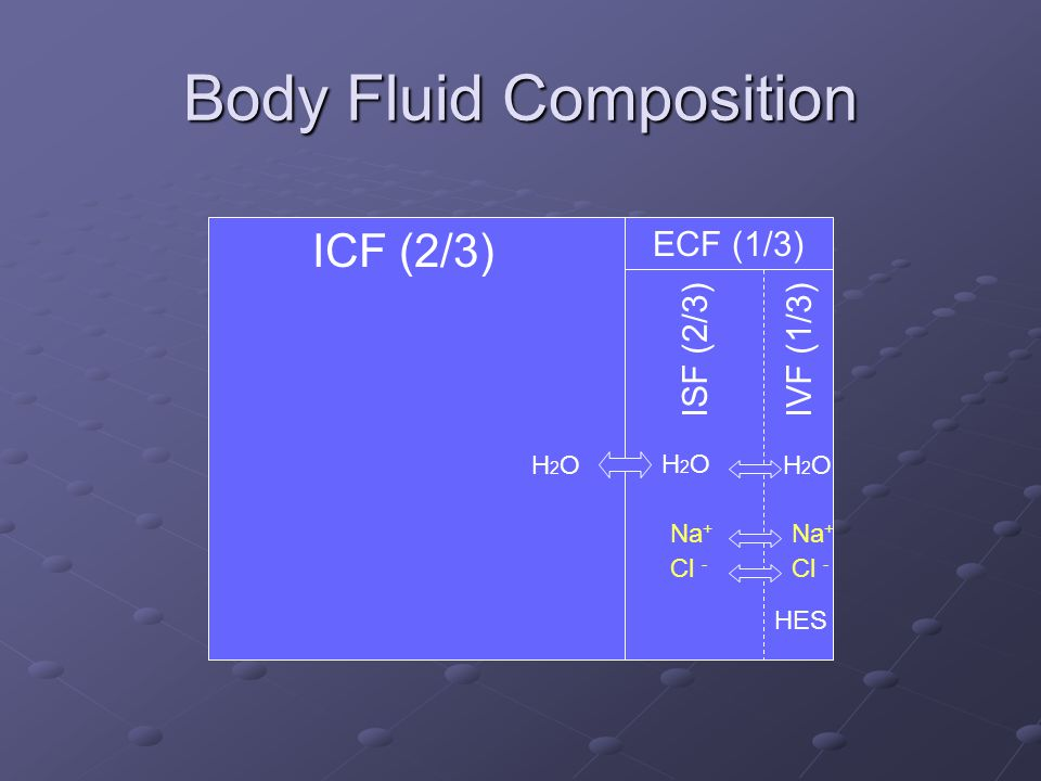 Body Fluid Composition ICF (2/3) ECF (1/3) ISF (2/3)IVF (1/3) H2OH2OH2OH2O H2OH2O Na + Cl - HES