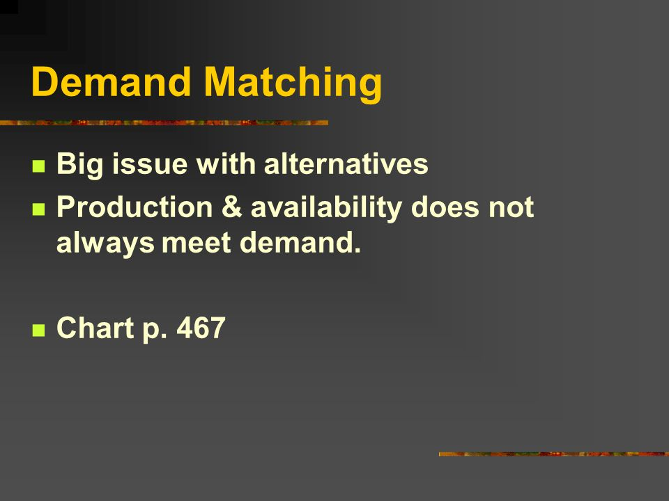 Demand Matching Big issue with alternatives Production & availability does not always meet demand.