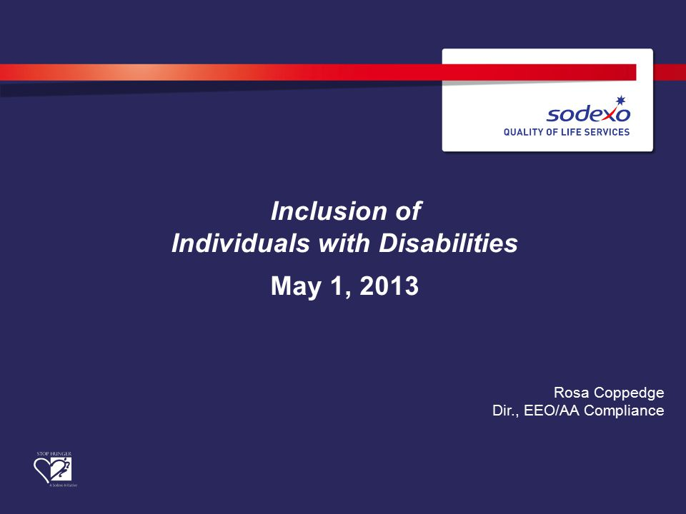 Inclusion of Individuals with Disabilities May 1, 2013 Rosa Coppedge Dir., EEO/AA Compliance
