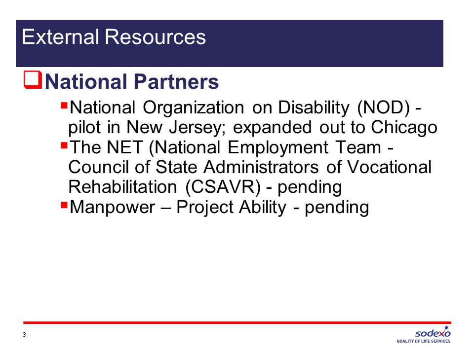  National Partners  National Organization on Disability (NOD) - pilot in New Jersey; expanded out to Chicago  The NET (National Employment Team - Council of State Administrators of Vocational Rehabilitation (CSAVR) - pending  Manpower – Project Ability - pending 3 – External Resources
