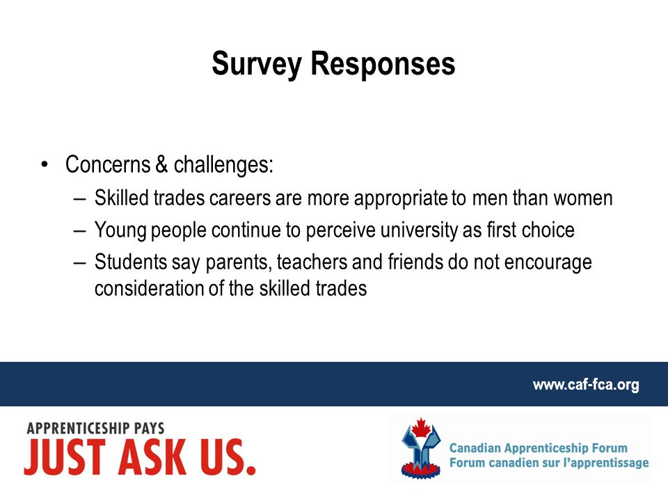 www.caf-fca.org Survey Responses Concerns & challenges: – Skilled trades careers are more appropriate to men than women – Young people continue to perceive university as first choice – Students say parents, teachers and friends do not encourage consideration of the skilled trades