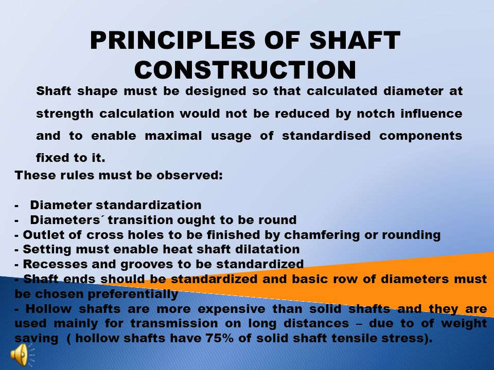 TYPES OF SHAFTS  Smooth  Formed  Hollow  Flexible  Hinged  Crankshaft Shafts divide up to their shape and function: