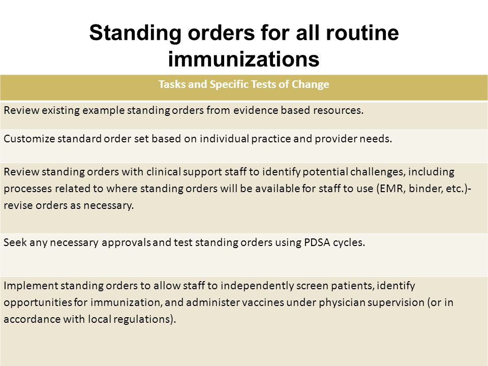 Standing orders for all routine immunizations Tasks and Specific Tests of Change Review existing example standing orders from evidence based resources