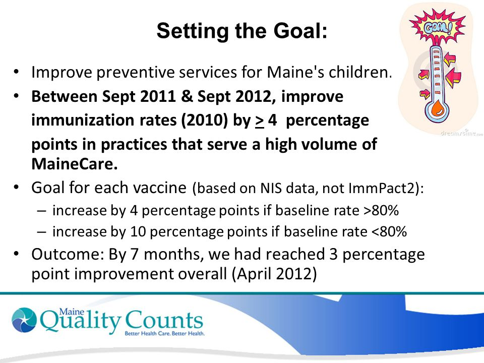 Setting the Goal: Improve preventive services for Maine's children. Between Sept 2011 & Sept 2012, improve immunization rates (2010) by > 4 percentage