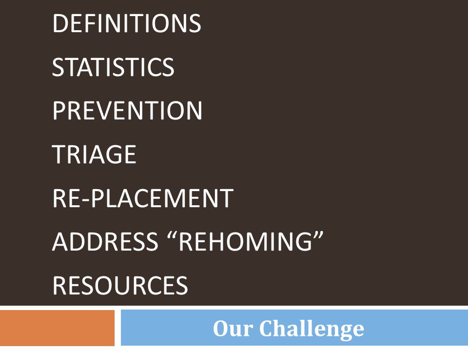 "DEFINITIONS STATISTICS PREVENTION TRIAGE RE-PLACEMENT ADDRESS ""REHOMING"" RESOURCES Our Challenge"