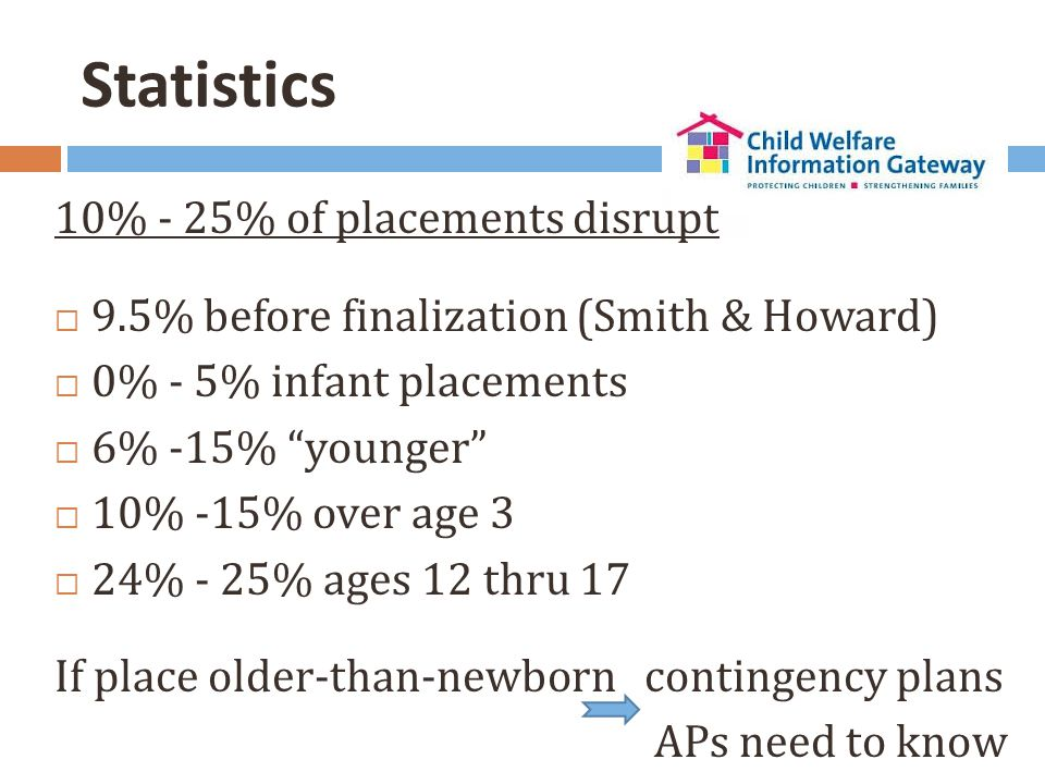 "Statistics 10% - 25% of placements disrupt  9.5% before finalization (Smith & Howard)  0% - 5% infant placements  6% -15% ""younger""  10% -15% over"