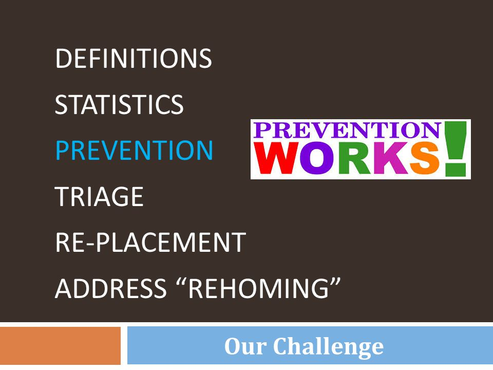 "DEFINITIONS STATISTICS PREVENTION TRIAGE RE-PLACEMENT ADDRESS ""REHOMING"" Our Challenge"